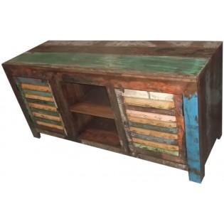 meuble tv indien en bois recupere et