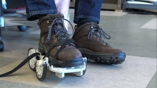 Stroke patients relearning how to walk with peculiar shoe