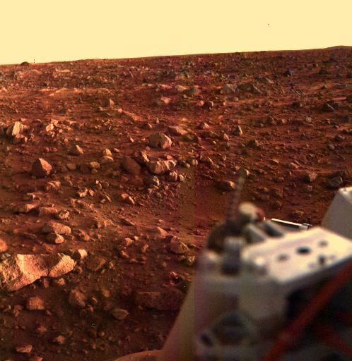 This is a sunset at the Viking Lander 1 site, 1976.  Credit: NASA/JPL
