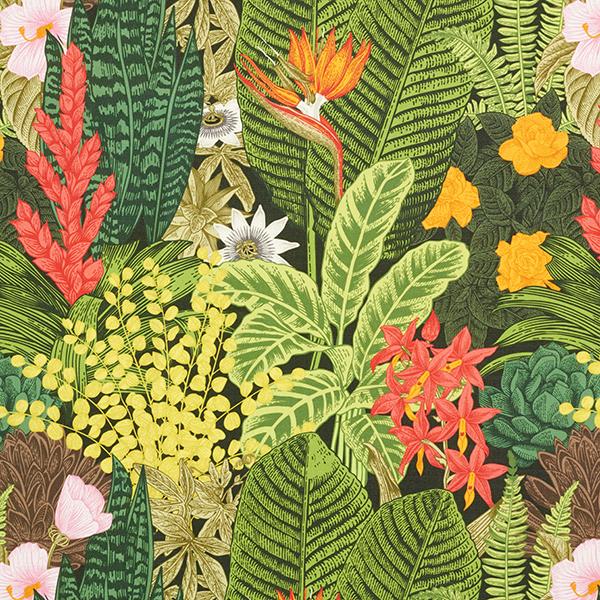 tissu d exterieur plantes exotiques vert fonce