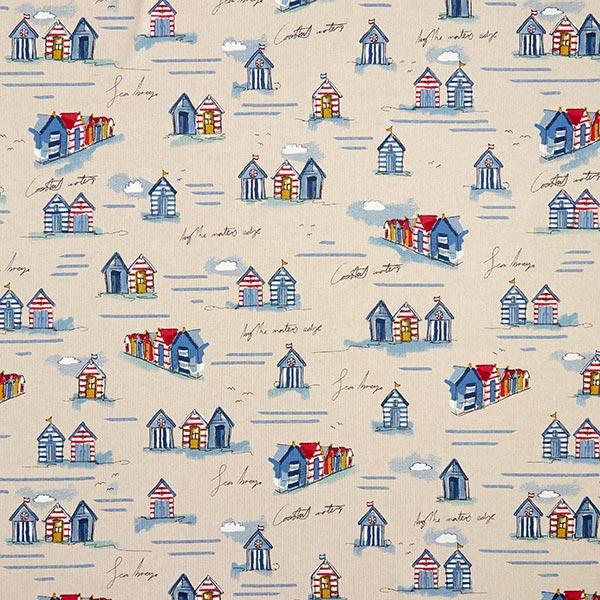 tissu de decoration semi panama maisons de bord de mer bleu rouge