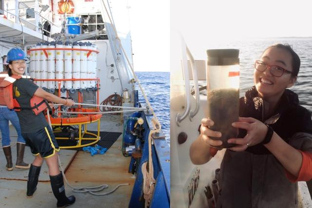 Scientist Sophie Chu helping to deploy a CTD rosette and Hongjie Wang holding a seawater sample
