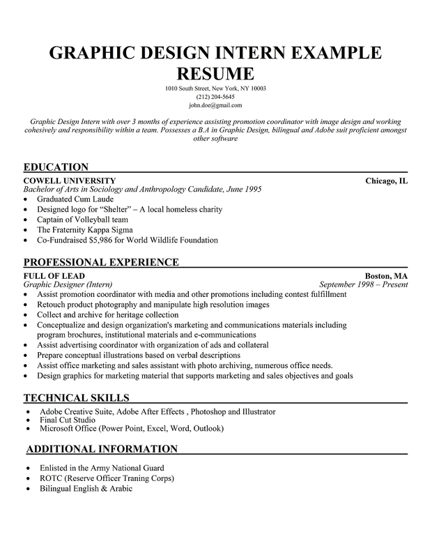 Sample Resumes For Internships. University Student Example