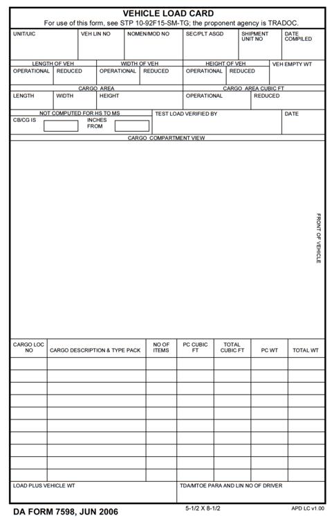 army load plan form da form load plan - Barut.hotelpuntadiamante.co