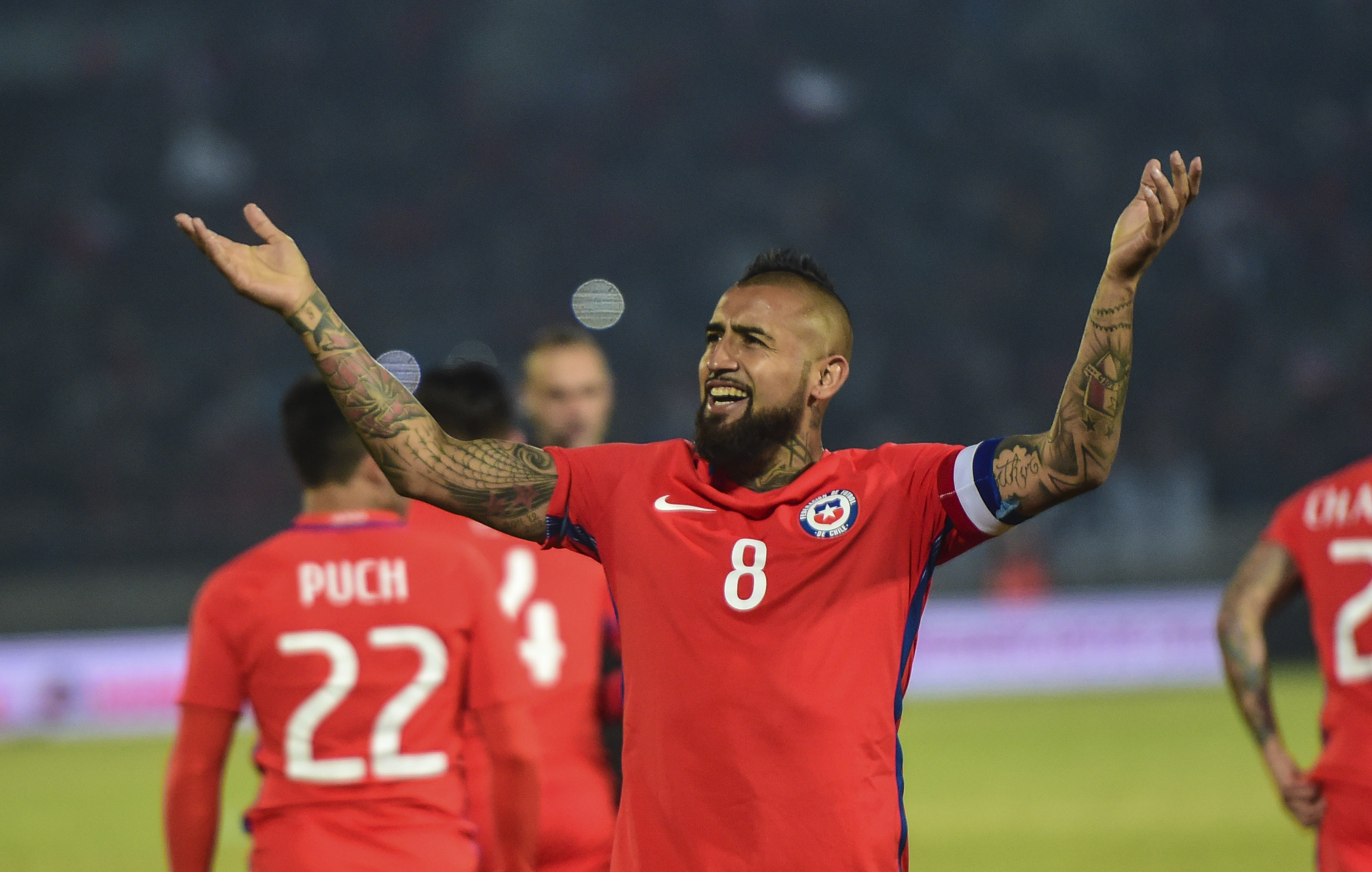 Chile's Arturo Vidal celebrates his goal