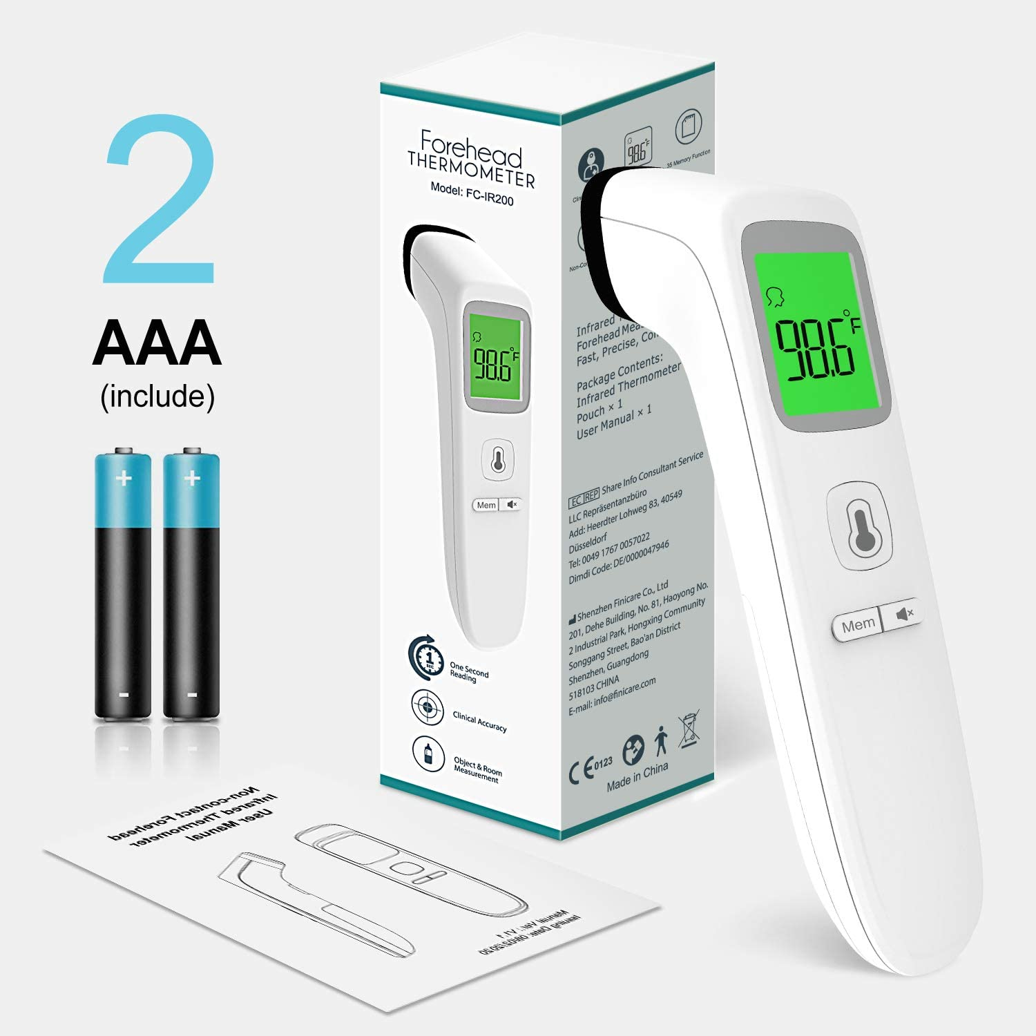 Non Contact Forehead Thermometer Untire Touchless Digital