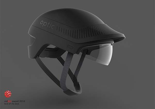 The Optic Cycling Helmet With Heads Up Display And