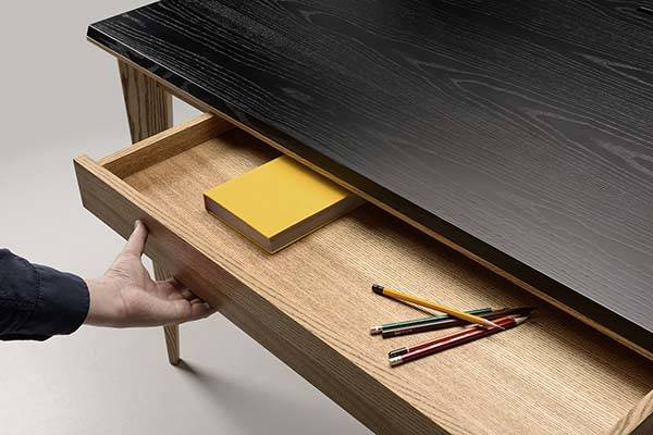 Ollly Wooden Desk With Compact Drawer Integrated Phone