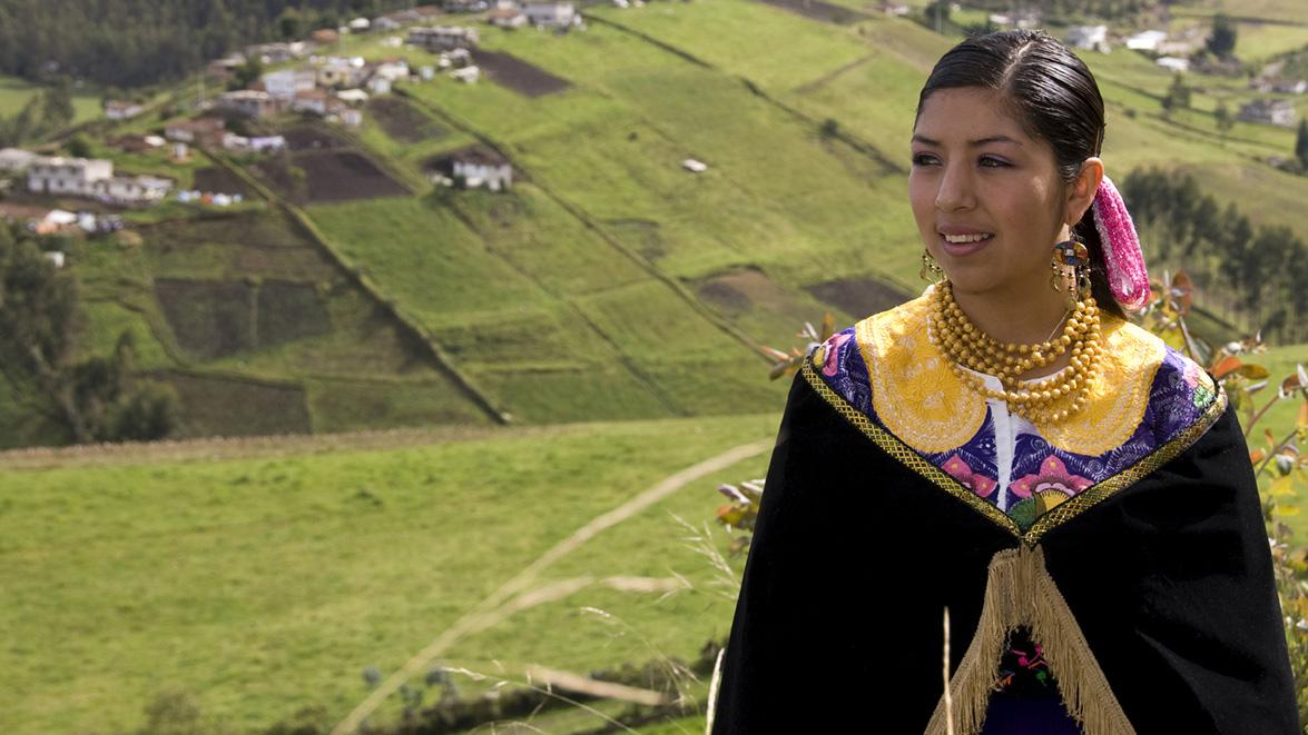Ecuadorian woman in her local farm fields, Ecuador