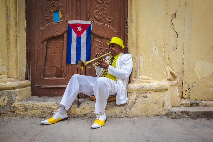 A trumpet player in downtown Havana.