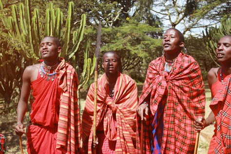The Maasai identity is often defined by colourful beaded necklaces, an iron rod, and the red shuka cloth.