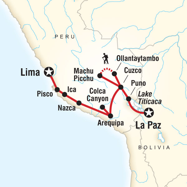 Map of the route for Andean Discovery