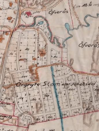 1908 med planerat villaområde utlagt.