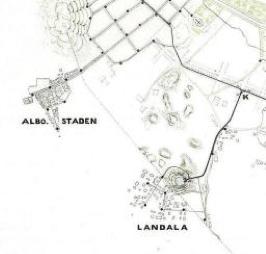 Albostaden och Landala 1866 med vattenledningar framdragna