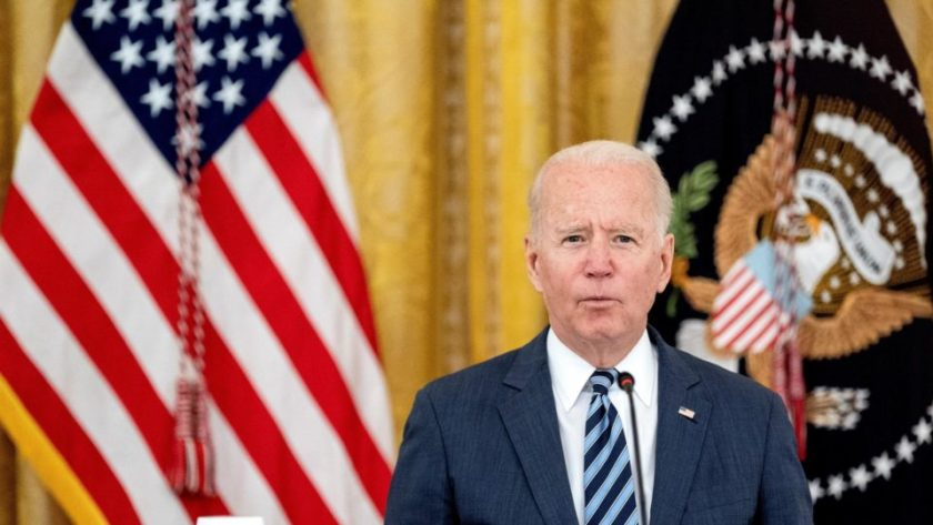 US President Joe Biden speaks during a meeting in the East Room of the White House in Washington, DC, USA, August 25, 2021.