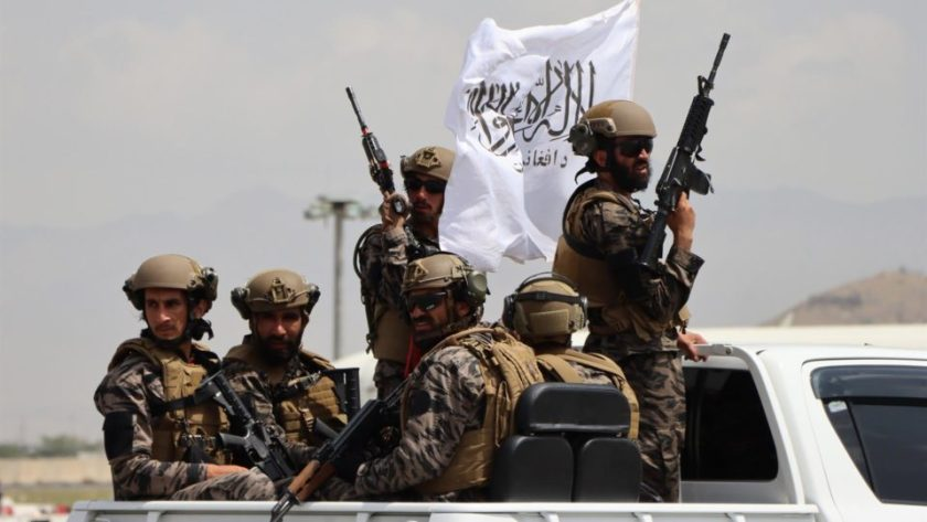 US-equipped Taliban forces patrol Hamid Karzai International Airport following the US withdrawal from Kabul, Afghanistan, on August 31, 2021.