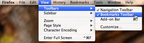 screenshot of view menu