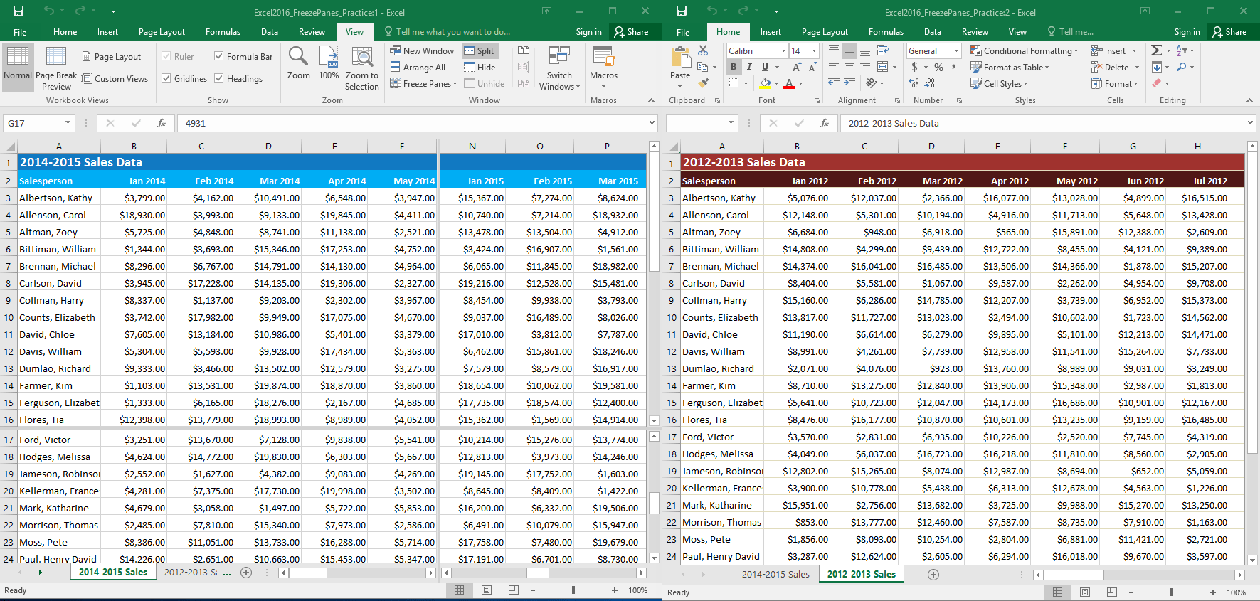 Excel Freezing Panes And View Options