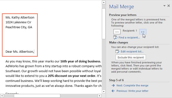 word 2016 mail merge