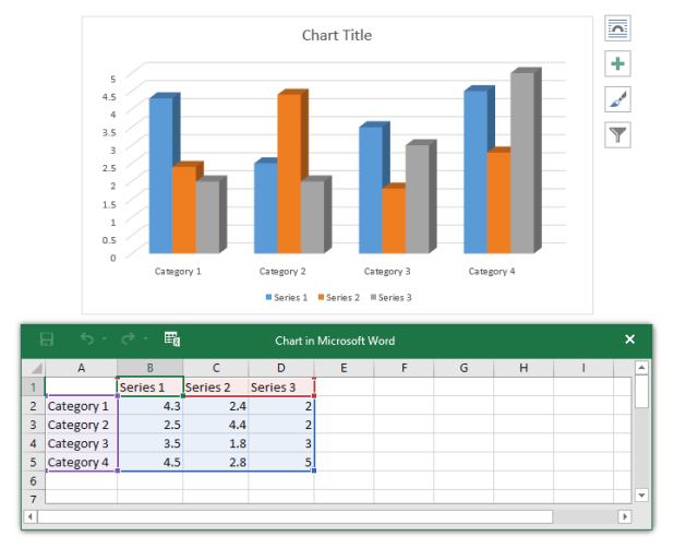 window charts and spreadsheets