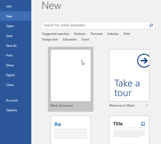 creating a new blank document - www.office.com/setup