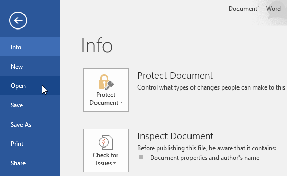 clicking the Open command in Backstage view - www.office.com/setup