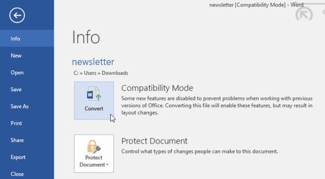 clicking the Convert command - www.office.com/setup