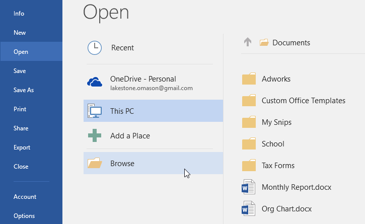 selecting Browse to look for a file to open