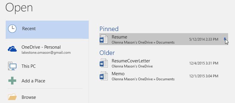 unpinning a document