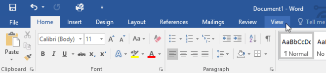 clicking the View tab - www.office.com/setup