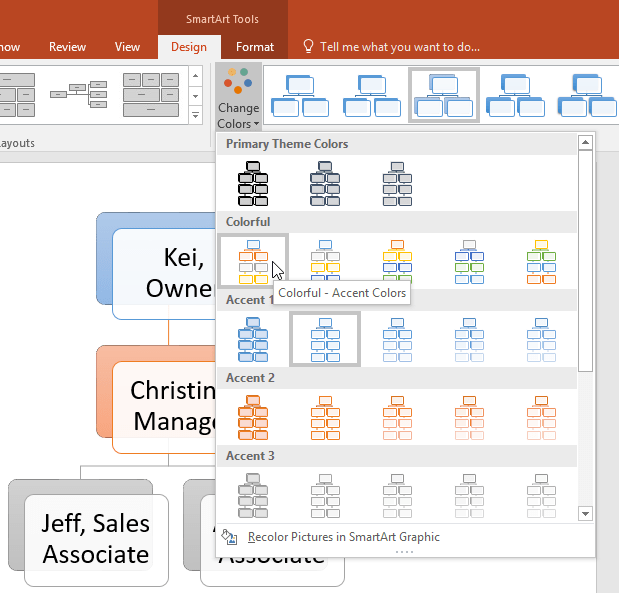 changing the smartart colors - www.office.com/setup