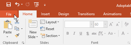 Clicking the File tab - www.office.com/setup
