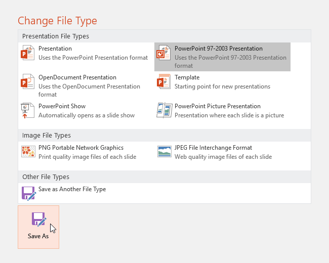 Choosing a file type and clicking Save As - www.office.com/setup