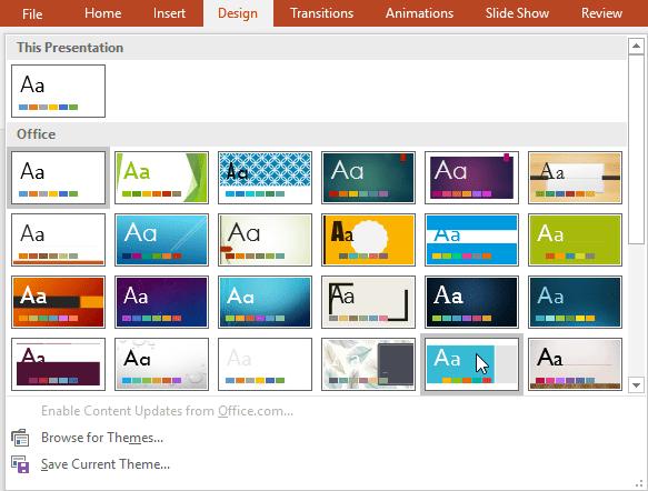 Selecting a theme
