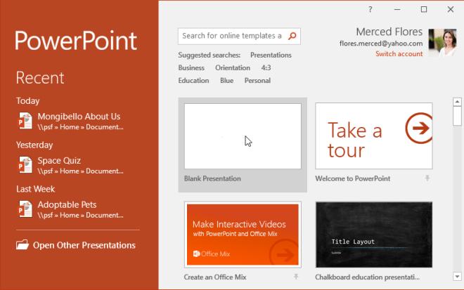 Creating a blank presentation - www.office.com/setup
