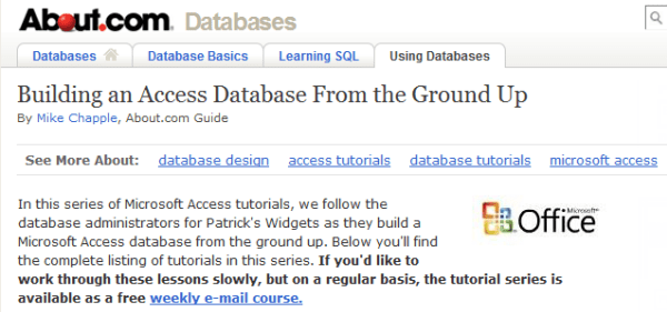 About.com's Building an Access Database from the Ground Up