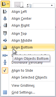 Aligning objects to the bottom of the slide