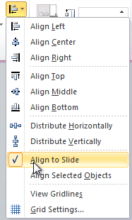 Selecting Align to Slide