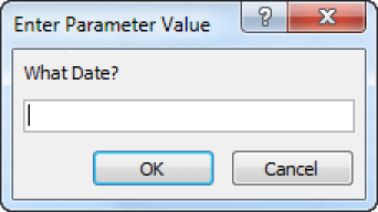 A prompt in a parameter query