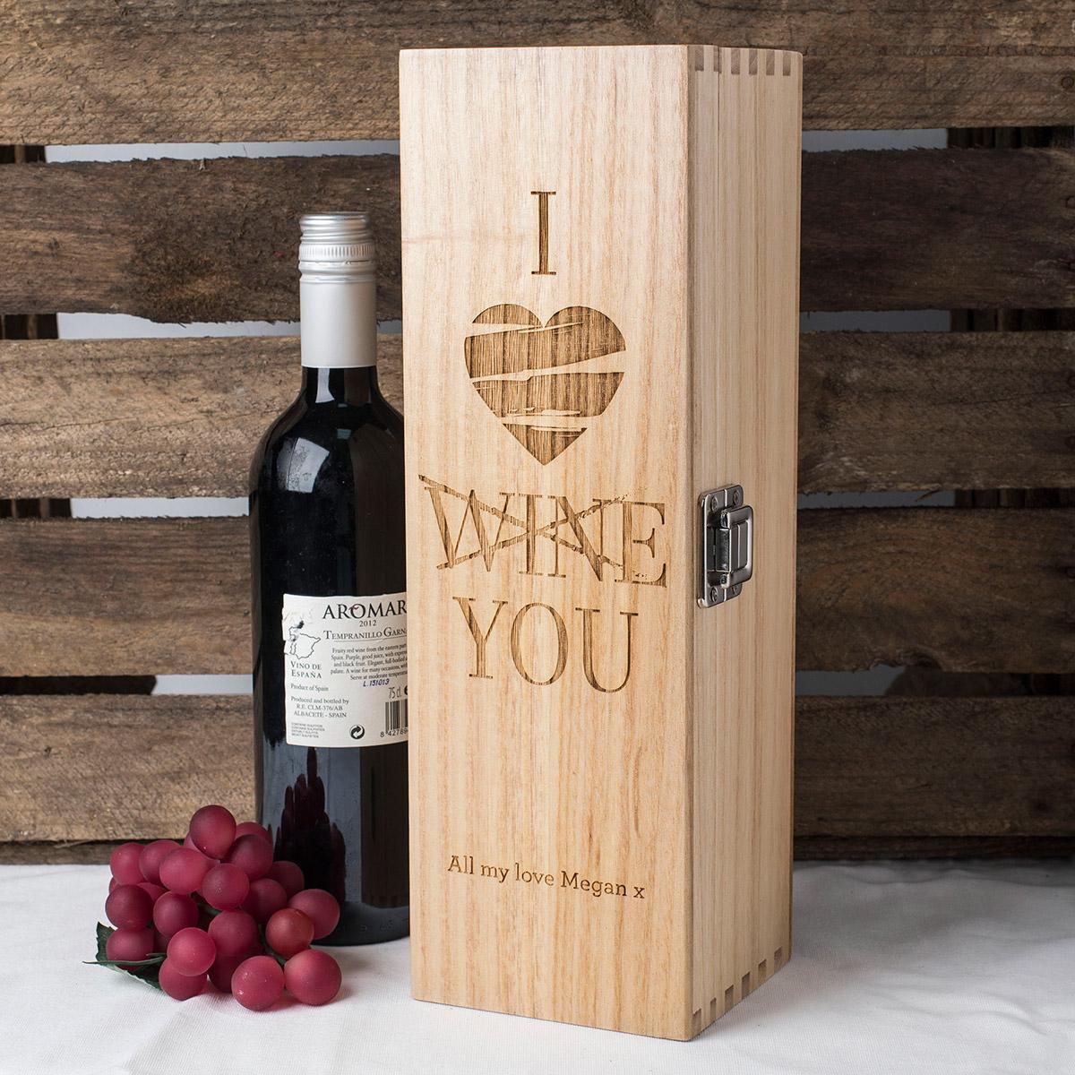 Personalised Luxury Wooden Wine Box I Love Wine You