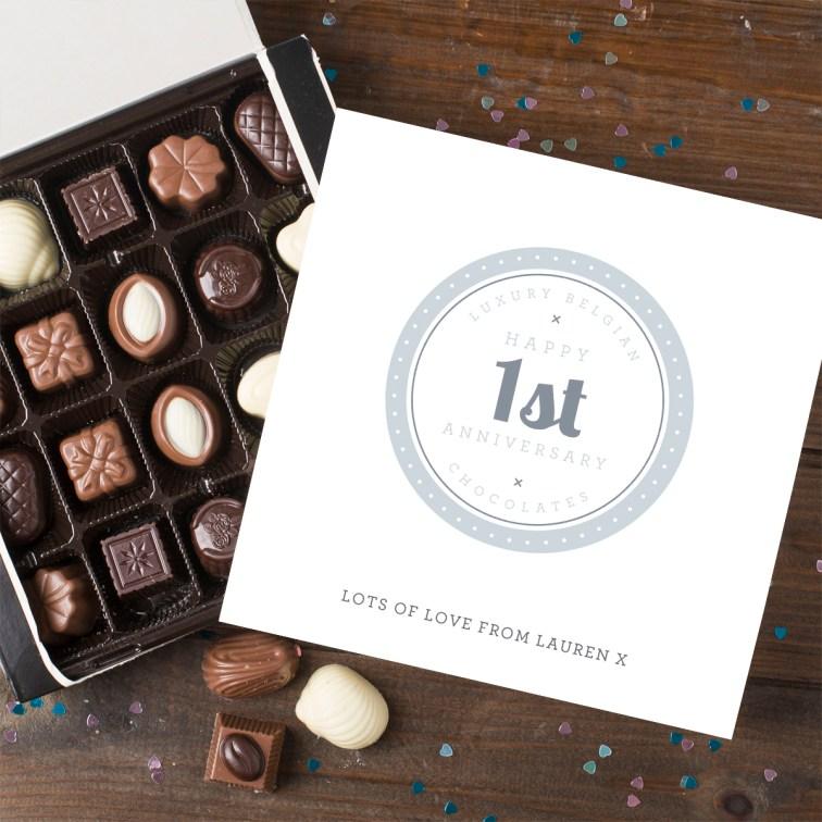 Personalised Belgian Chocolates - 1st Anniversary