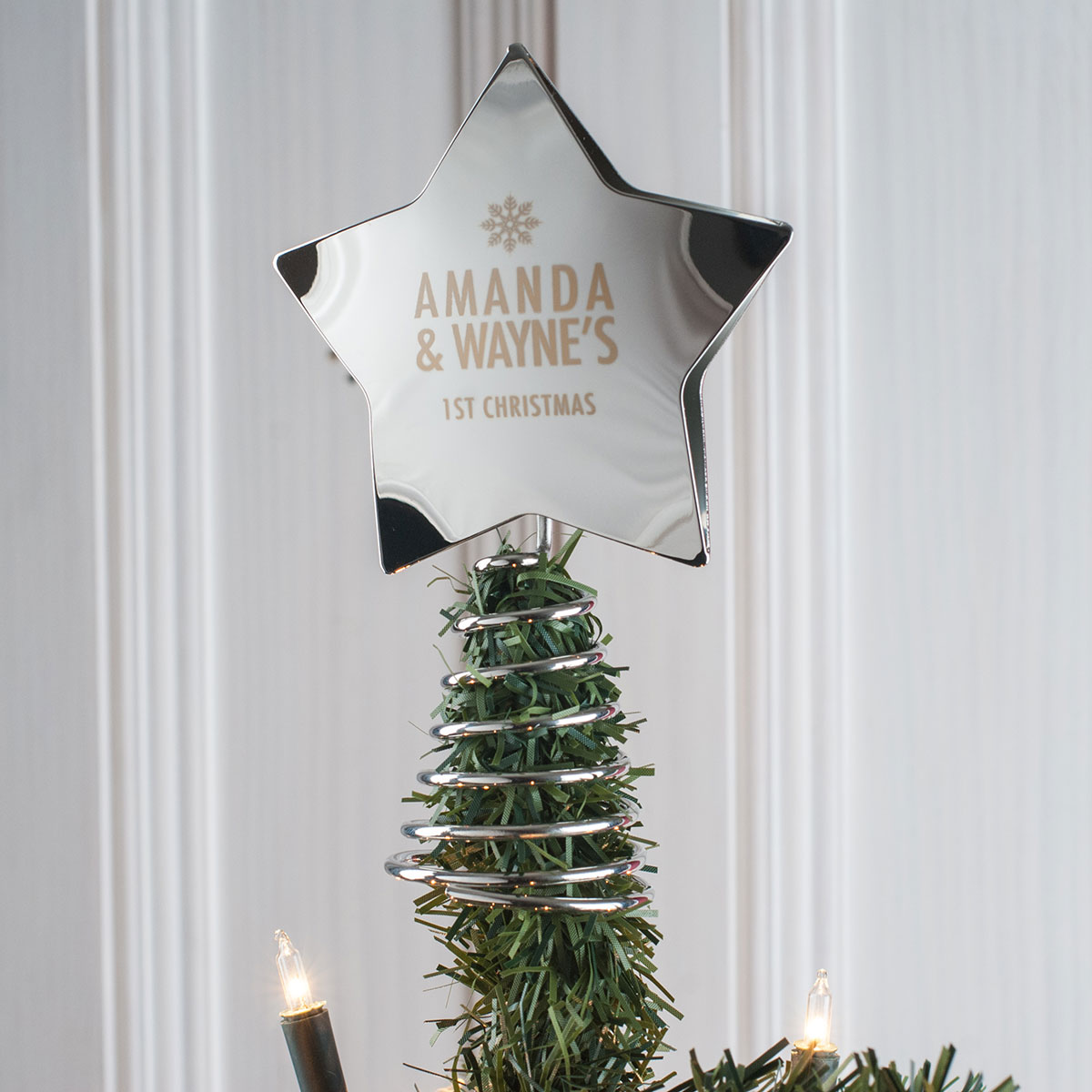 Personalised Star Christmas Tree Topper Engraved Gifts
