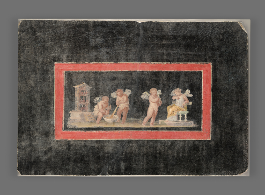 Fresco Fragment With Cupids And Psyche Making Perfume