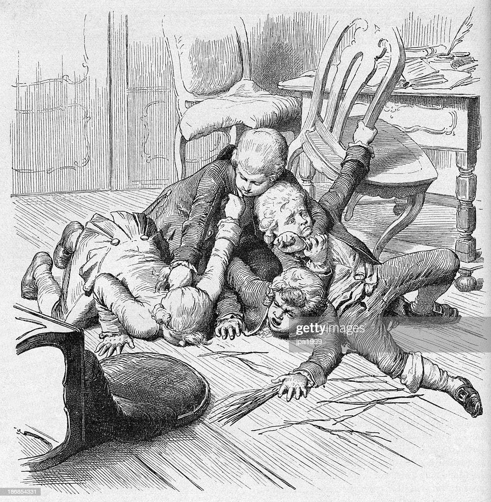 https www gettyimages ch detail illustration 19th century illustration of children fighting lizenfreie illustration 186854331 language fr