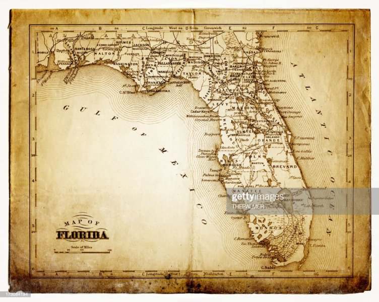 Old Map Of Florida Stock Illustration   Getty Images old map of florida   Stock Illustration