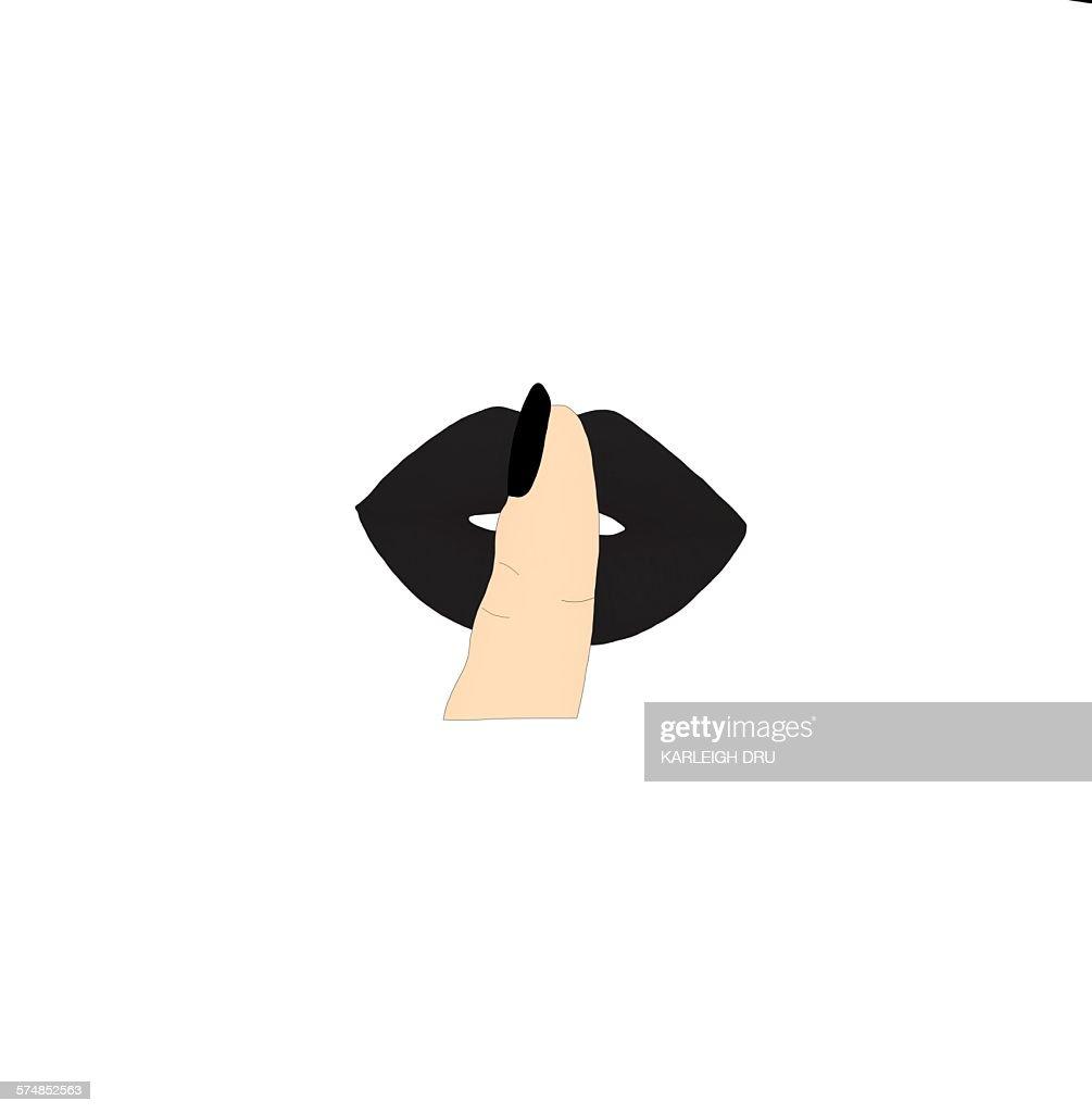 Finger Lips Over Owl Cartoon
