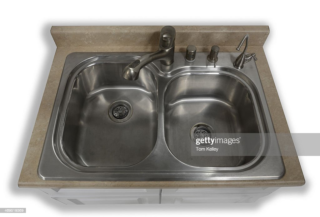 aerial view of a clean stainless steel kitchen sink against a white news photo getty images