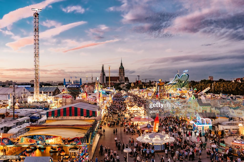 Oktoberfest Stock Photos and Pictures   Getty Images aerial view on Oktoberfest in Munich at sunset hour