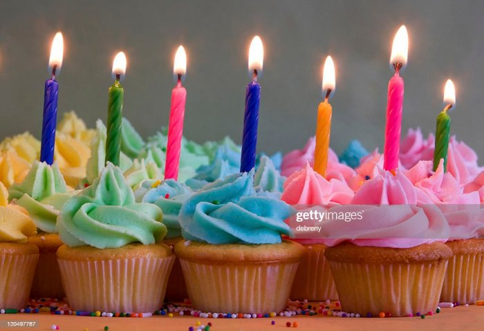 Birthday Cupcakes With Candles Stock Photo Getty Images