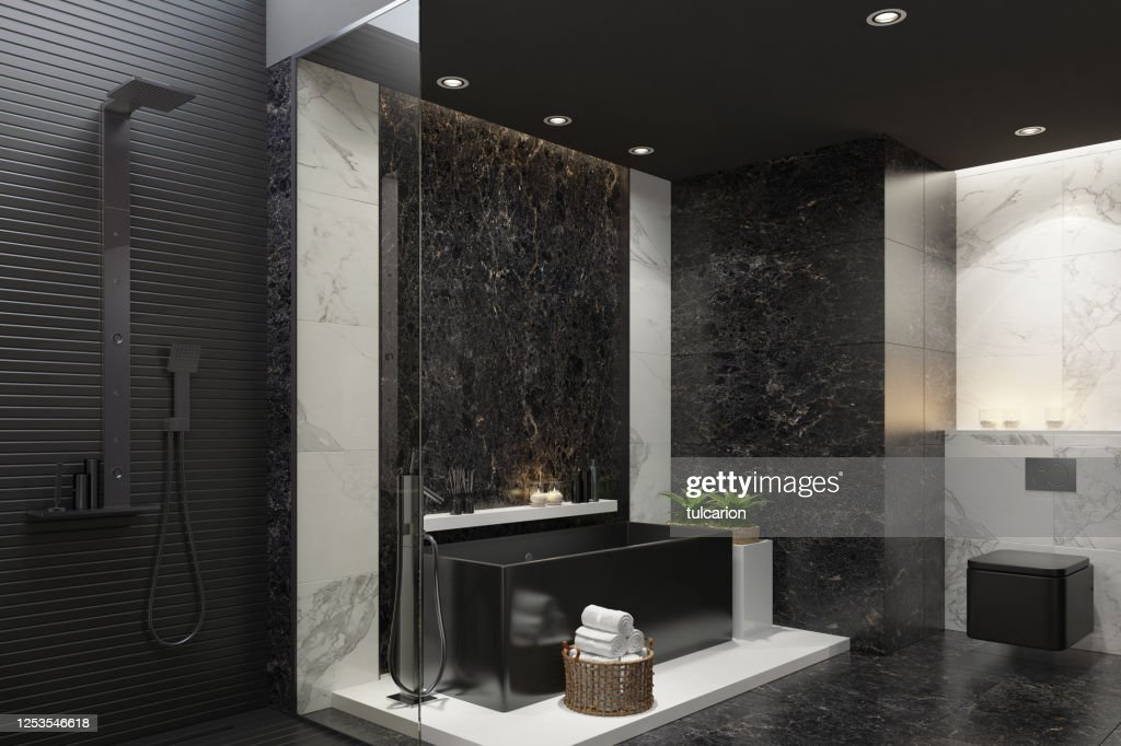luxurious modern home spa bathroom with black and white marble tiles high res stock photo getty images